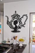 Wall Vinyl Sticker Decals Mural Room Design Decor Art Bedroom Kitchen Tea Pot Woman Head Cute Modern Art bo2504