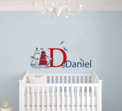 Custom Name & Initial The Treasure Map - Nautical Theme - Baby Boy - Wall Decal Nursery For Home Bedroom Children (M511)