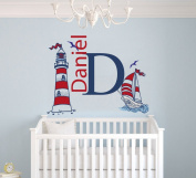 Custom Name & Initial Sailboat and Lighthouse - Nautical Theme - Baby Boy - Wall Decal Nursery For Home Bedroom Children (M510)