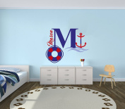 Custom Name & Initial Anchor and Float- Nautical Theme - Baby Boy - Wall Decal Nursery For Home Bedroom Children (521)