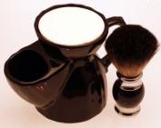 Diamond Edge Dark Badger Hair shaving brush & black shaving mug