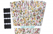 Outside the Box Papers Rose Floral Paper Straws 20cm 100 Pack Yellow, Pink, White