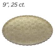 23cm Gold Scalloped Edge Cake Boards, 25 ct