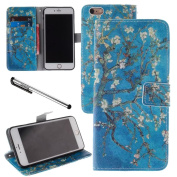 Urvoix For 14cm iPhone 6 Plus/6S Plus, Blossom Tree Blue PU Leather Flip Wallet Case Cover - w/ Picture on Card Holder, Magnetic Closure, Stand Feature for iPhone 6Plus/6SPlus
