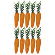 10 x Mini Glitter Carrots Easter Bunny Egg Hunt Bonnet Craft Decoration Accessories