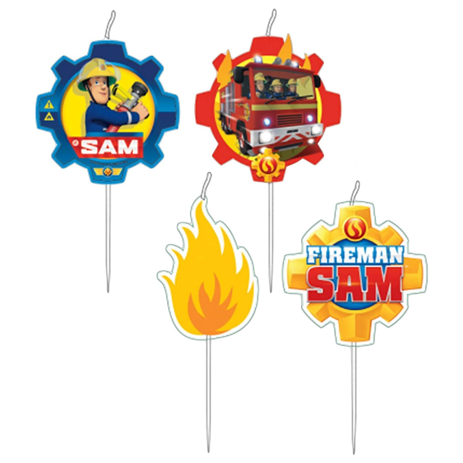 Fireman Sam Party 4 Pick Candles Birthday Cake By