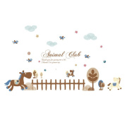 Winhappyhome Animal Club Wall Art Stickers for Bedroom Living Room Coffee Shop Background Removable Decor Decals