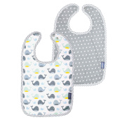 Bébé-Jou 3034102 Bib with Press Stud Closure - Wally Whale Set of 2) - White