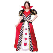 (L) Ladies Queen of Hearts Costume for Royal Fancy Dress Womens