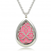 Lademayh Teardrop Aromatherapy Diffuser Locket Necklace/ Stainless Steel Pendant/ 60cm Chains and 10 Pads