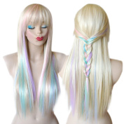 Blonde Pastel colour highlights rainbow wig multi colourful wig Long straight hair Heat resistant Fairy princess with bangs