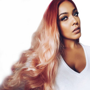 Peach Pink Ombre Synthetic hair Body Wave Lace Front Wig Long natural hairline two tone hair style Heat resistant for women