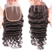 Rishang Hair Brazilian Deep Wave Closure 3 Part Lace Closure Bleached Knots 4X4 Virgin Human Hair Closure with Baby Hair