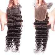 Rishang Hair Brazilian Deep Wave Closure Virgin Brazilian 4X4 Top Deep Wave Lace Closure Bleached Knots Free Part Human Hair Closure