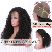 Chantiche Soft Curly 360 Lace Frontal Wig with Baby Hair and High Ponytail Brizilian Virgin Human Hair Customised 360 Lace Full Wigs with 150% Heavy Density for Women 46cm Natural Colour