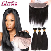 Luxcoco Brazilian Natural Colour 3 Bundles Deep wave Uprocessed Virgin Hair with 33cm x 10cm Lace Frontal free part
