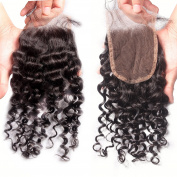 Rishang Hair Deep Curly lace Closure Unprocessed Virgin Brazilian Human Hair 4X4 Top Lace Closure Bleached Knot Full Lace Free Part Closure