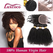 Luxcoco Unprocessed Human Hair Extensions Peruvian Curly Virgin Hair Weave Natural Colour Kinky Curly Weave 3 Mix Length Hair Bundles with Top Lace Closure 18 18 20 with 50cm closure Free Part closure