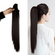 50cm SEXY Claw Ponytail Handy Jaw Pony Tail Clip in Hair Extensions One Piece Long Straight Soft Silky for Women