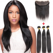 Silky Straight Brazilian Virgin Hair Weave 3 Bundles Wefts with 13X4 Free Part Lace Frontal Human Hair Extensions Unprocessed Natural Colour 100g/bundle
