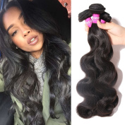 YAEONS Hair Malaysian Hair Bundles,Malaysian Body Wave Hair 3 Bundles Grade 6A Unprocessed Virgin Human Hair Weave Natural Black #1B Colour