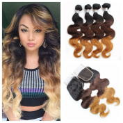 Angels Beauty Brazilian Ombre Body Wave 4 Bundles with Free Part Lace Closure Unprocessed Virgin Human Hair Weave Extensions