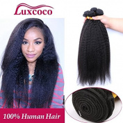 Luxcoco Kinky Straight Hair Wave Hair Extension/Weft, 100% Brazilian Virgin Remy Human Hair with Unprocessed Natural Black Colour 24 26 28 30