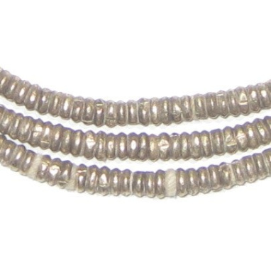 Dark Silver Heishi Beads - Full Strand Ethiopian Metal Spacers for Jewellery Making - The Bead Chest