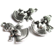 Heather's 42 Pieces Silver Tone Angel girl Beads DIY Charms Pendants 26mmX19mm