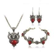bestwishes2u Women Retro owl Tibetan Silver Turquoise Crystal Pendant Necklace Bracelet Earrings Set Jewellery Sets