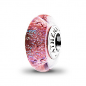 ATHENAIE Genuine Murano Glass 925 Silver Core Luminous Red Shimmer Charms Bead Fit All European Bracelets Colour Red