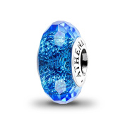 ATHENAIE Genuine Murano Glass 925 Silver Core Faceted Fascinating Iridescence Blue Shimmer Charms Bead Fit All European Bracelets Colour Blue