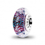 ATHENAIE Genuine Murano Glass 925 Silver Core Dark Purple Shimmer Multi-Clear CZ Charm Bead Fit All European Bracelets
