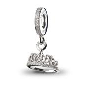 ATHENAIE 925 Silver Plated Platinum with Pave Clear CZ Hearts Tiara Pendant Drops Fit All European Bracelets Necklace