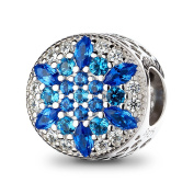 ATHENAIE 925 Sterling Silver Blue Crystals & Clear CZ Crystalized Snowflake Charm Fit All European Bracelets Necklace