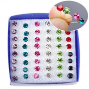Merssavo 20 Pair Of Plastic Rhinestones Crystal Ear Studs Mixed Colour