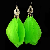 Leiothrix Nutural Feather Alloy Earrings in Atrovirens for Women and Girls Apply to Wedding Party Casual