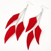Leiothrix Nutural Feather Alloy Earrings in Red for Women and Girls Apply to Wedding Party Casual