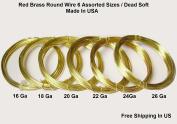 Assorted Sizes Red Brass Round Wire (26-24-22-20-18-16 Ga 3m Each