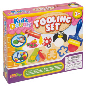 Play Dough Modelling Tooling 15 Piece Set- with Modelling Tools, Moulds & Shapes - with 3 Different Colours & Tubs with Moulds by Kids Toys
