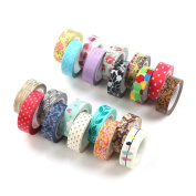 DECORA 20 Pieces Colourful Decorative Washi Tapes for Notebooks, DIY Crafts and Gift Wrapping