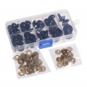 Tangc 52PCS 12-20mm Black Plastic Safety Eyes For Teddy Bear Dolls Toy Animal DIY