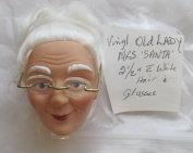Craft Vinyl MRS. SANTA Claus or OLD LADY Doll HEAD 5.1cm - 1.3cm w WHITE Combable HAIR & Wears a PAIR of GOLD Tone METAL Frame EYE GLASSES