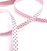 Anrox Supply Co. 1cm Pink Grosgrain w/ Brown Swiss Dot Ribbon 50 YDS Arts & Craft