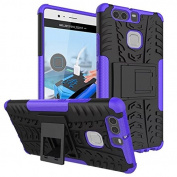Huawei P9 Case,ARSUE [Premium Rugged] Heavy Duty Armour [Shock Resistant] Dual Layer with Kickstand Case for Huawei P9 2016 (Not Fit For Huawei P9 Lite/Plus) - Purple