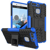 Huawei P9 Case,ARSUE [Premium Rugged] Heavy Duty Armour [Shock Resistant] Dual Layer with Kickstand Case for Huawei P9 2016 (Not Fit For Huawei P9 Lite/Plus) - Blue