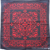Red Black Heart Paisley P40 Head Wrap Dusk Mark Bandana Scarf Handkerchief, 50cm