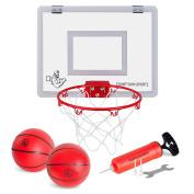 Mini Basketball Hoop with Breakaway Rim - Over-The-Door Set Includes 2 Mini Basketballs - Hand Pump with 3 Inflation Needles