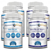 Research Verified AnxiRelief - #1 Supplement for Anxiety & Stress Relief - 100% Natural - with Valerian Root, 5-HTP, Magnesium, L-Theanine - Fast & Safe - 100% Money Back - 6 Bottles