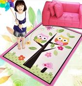HUAHOO Kids Rugs Girl Bedroom Home Textile,Unique Cartoon Owl Carpet,Designer Pink Fairy Girls Rug For Living Room,Delicate Butterfly Kids Rug